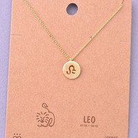 Dainty Circle Coin Leo Zodiac Symbol Necklace - Gold, Silver or Rose Gold