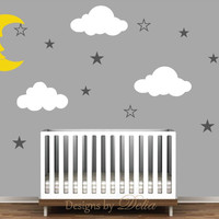 Moon, Stars, and Clouds Wall Mural for Nursery