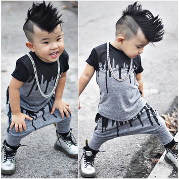 2pcs Newborn Toddler Infant Kids Baby Boy Clothes T-shirt Tops Short Sleeve + Pants Long Fashion Outfits Set Kids Boy 0-4Y