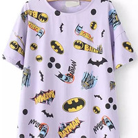 Cartoon Character Print  Purple T-shirt