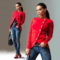 2017 Spring Autumn Lady Working Casual Blazer Fashion Oblique Button Long Sleeve Slim Jacket Solid Plus Size Suit Coats Outwear