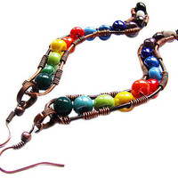 Multicolored snakes - earrings made of czech glass and copper wire