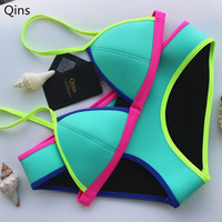 Qins Swimwear Women's Fashion Neoprene Bikinis Women New Summer 2016 Sexy Swimsuit Bath Suit Push Up Bikini set Bathsuit Biquini