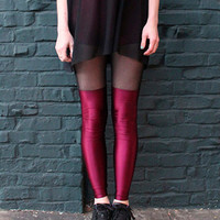 Burgundy Faux Thigh-High Leggings with Sheer Inset Black Mesh MADE To ORDER