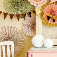 Party Fans | Pom Wheel | Rosettes | Paper Medallions | For Weddings, Birthdays or Parties | Paper Pinwheel