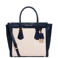 Colette Large Embossed-Leather and Canvas Satchel
