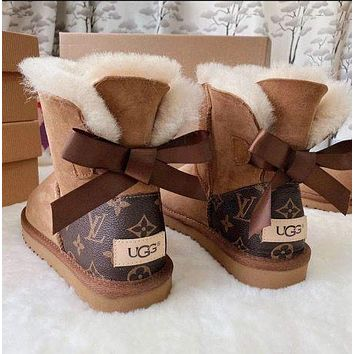 UGG x Louis Vuitton LV Fashion Men's and Women's Stitching Leather Lace Bow Snow Boots Non-slip Warm Snow Boots