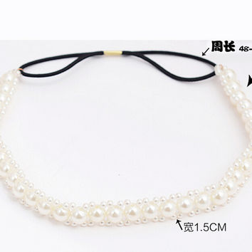 Metting Joura Bohemian Cream Pearl Braided Flower Elastic Headband Hairband Hair Accessories