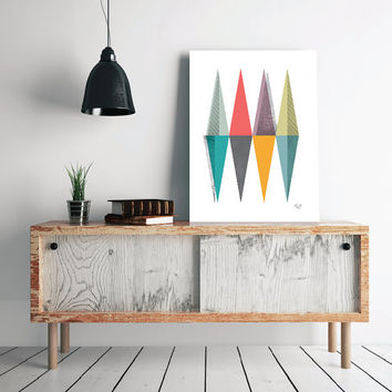 Abstract art Triangles Geometric art Retro poster Minimal Modern Scandinavian Nordic Style Abstract Digital poster print INSTANT DOWNLOAD.