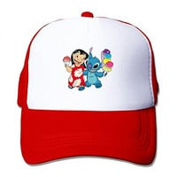 TOMLE Lilo And Stitch Cartoon Snapback Mesh Caps Adjustable Printing Baseball Hats