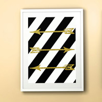 Arrow Graphic Art, Three Arrows in Golden Glitter and Black White Stripe Background, Digital Download Printable Artwork for Your Home