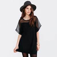 Black Wide Mesh Sleeve Dress