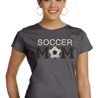 SOCCER MOM sparkly glitter tee shirt, Choose from a Regular Unisex or Ladies' Fitted Fitted tee