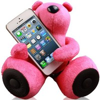 Jarv DJ- Bears Huggy Speakers with Stereo Amplifier for iPhone,iPad, iPod, MP3 players and other devices with Standard 3.5mm Jack, Dark Pink
