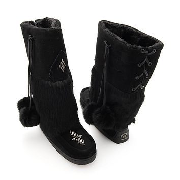 "Manitobah Mukluks ""Snowy Owl"" Suede Leather & Fur Mid-Calf Boots"