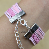 Infinity cross jewelry, , love bracelet, pink karma wax rope leather bracelet, the best gift for the girl