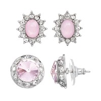 Oval & Circle Stud Earring Set (Pink/White/Silver)