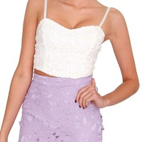 Daisy Dream Crop Top - Ivory Lace