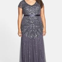 Plus Size Women's Adrianna Papell Beaded V-Neck Gown,