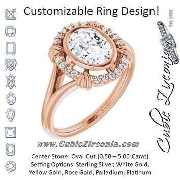 "Cubic Zirconia Engagement Ring- The Leontine (Customizable Oval Cut Design with Split Band and ""Lion's Mane"" Halo)"