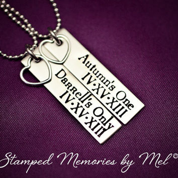 Her One, His Only - The Original with ROMAN numeral DATE & NAMES - Couples Jewelry - Hand Stamped Necklace Set - Sterling Heart Charm
