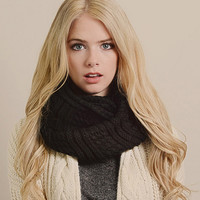 Solid Color Chunky Knitted Infinity Scarf