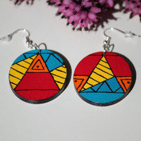 Aztec pattern hand-painted wooden earrings. Maya pattern.