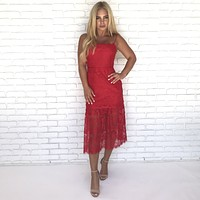 Flirting With Fire Lace Midi Dress