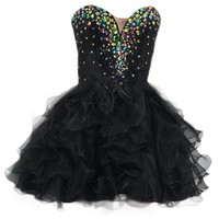 VILAVI Princess Sweetheart Short Organza Rhinestone Graduation Dresses
