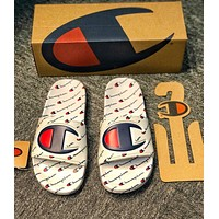 Champion Hot Sale Women Men Fashion Casual Full Logo Sandal Slipper Shoes White
