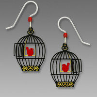 Sienna Sky Earrings - Open Bird Cage with Red Bird on a Swing