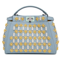 Fendi Blue Crystal Embellished Mini Peekaboo