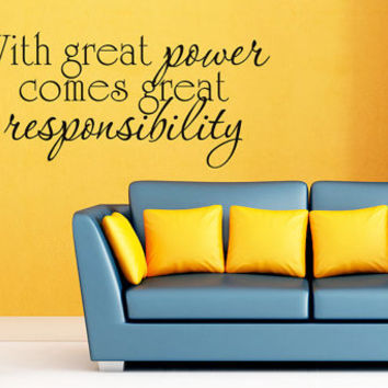 Art Wall Decal Wall Stickers Vinyl Decal Quote - With great power comes great responsibility