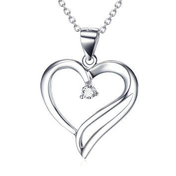 Heart  Pendant 925 Silver Diamante Necklace