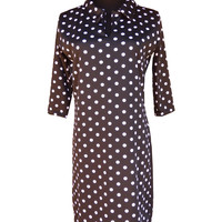 Polka Dot Chic-Designer Womens Classic Polo Collar Dress with 3 Quarter Sleeves