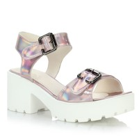 Ladies Two Part Cleated Sole Chunky Platform Block Heel Flat Buckle Sandals Shoe