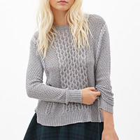 FOREVER 21 Crew Neck Fisherman Sweater