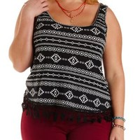 Plus Size Crochet-Trim Aztec Print Tank Top