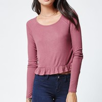 LA Hearts Ribbed Peplum Long Sleeve Top - Womens Tee