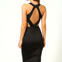 Black Sleeveless Hollow-out Knee Length Midi Dress