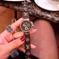 "LV ""Louis Vuitton"" Popular Women Men More Print Multicolor Watches Wrist Watch"