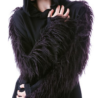 Widow Hellhound Faux Fur Pullover Hoodie Black