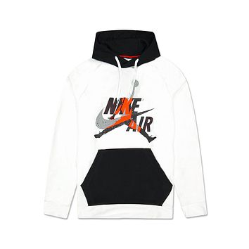 Nike Men's Air Jordan Mashup Jumpman Classics Lightweight White Fleece Hoodie