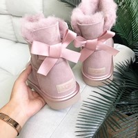 "2019 New ""UGG"" Women Fashion Wool Calfskin Snow Boots Mini Bowknot Pink 1019032"