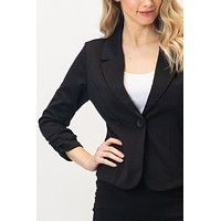 Slim Fit Ruched Long Sleeve Single Button Down Blazer Jacket