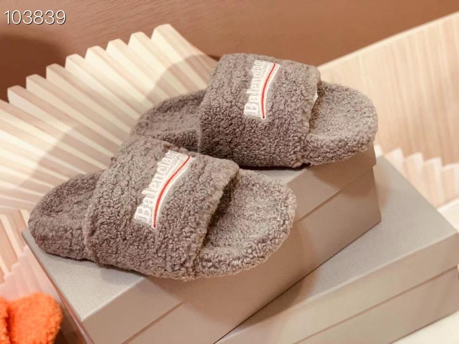 Image of Balenciaga style wool slippers, home flat bottom warmth slippers, fashion cotton slippers Shoes