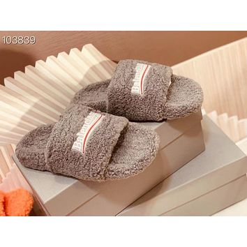 Balenciaga style wool slippers, home flat bottom warmth slippers, fashion cotton slippers Shoes
