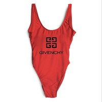 GIVENCHY SWIMMER SWIM TAN TOP VEST SHIRT V NECK WOMEN LETTERS BOTTOMING CLOTHES BIKINI