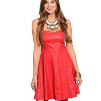 Ark and Co Red Faux Leather Flare Skirt Spaghetti Strap Dress