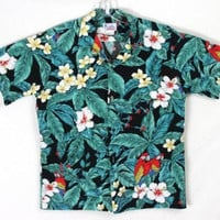Mens Hawaiian Shirt M Size Hawaii Floral Parrots Aloha Party Vacation